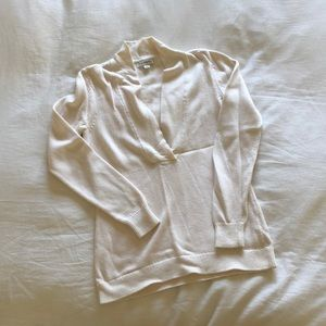 Cream Knit Cowl V-Neck Sweater